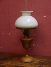SMALL ANTIQUE OIL LAMP BRASS COLUMN & RESERVOIR with MILK GLASS SHADE