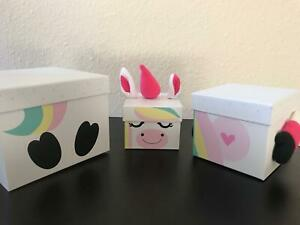 3 Unicorn Stacking Gift Boxes Large Birthday Present Christmas Eve Box For Girls