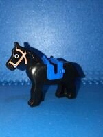 LEGO Classic Vintage Castle Horse Black 4493 4494 With Blue Saddle 4491 Bundle