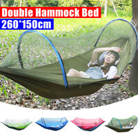 Portable 260x150cm Hammock Bed Double Nylon Camping Hanging Travel Mosquitoe  !