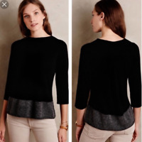 Anthropologie Angel Of The North Evi Cashmere Blend Black Pullover Sweater SZ XS