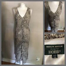 HOBBS Marilyn Anselm Snakeskin Ruffle Front Chiffon Long Dress UK size 12 Races