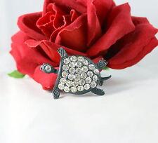 Vintage Dazzling  White Rhinestone Turtle  Pin Brooch CAT RESCUE