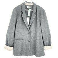 Stitch Fix Eden Society Sonya Wool Boyfriend Blazer Jacket Womens L Gray Button