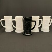 Vintage Federal Glass Company White Milk Glass Steins Cups Tavern Scene Lot of 4