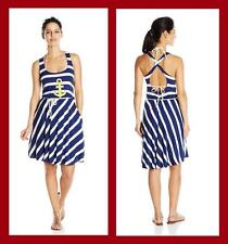 b63e9b8a09 Sperry Navy Sleeveless Anchor Striped Belted Cover up Dress XS