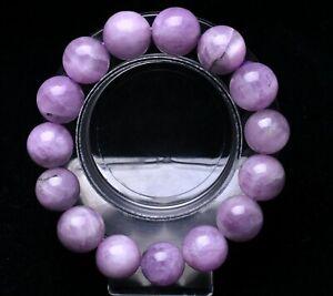 14mm Genuine Natural Purple Kunzite Crystal Round Beads Bracelet AAA