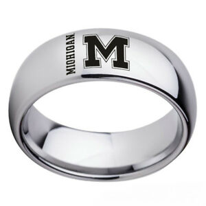 Michigan Wolverines Team Silver Stainless Steel Rings Men's Band Size 6-13