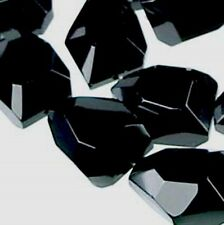 """19x14mm Handmade Faceted Black Jet Crystal Onyx Nugget Beads 14.5"""""""