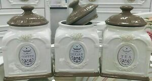 Vintage Ceramic Canisters Set of 3 Kitchen Canister Tea/Coffee/Sugar Canisters