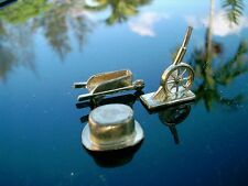(3) Genuine Gold Colored Monopoly GAMEBOARD Pieces  WHEELBARROW, HAT & CANNON