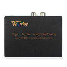 Wiistar Digital Optical Audio Switch 3x1 Toslink 3 In 1 Out with Analog RCA