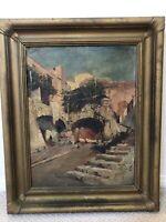 👀 Antique 19th c. Impressionist Oil Painting - Italian School, Macchiaioli