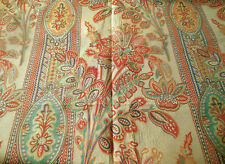 Vintage French Medallion Floral Lily Decorator Fabric ~ Yellow Tangerine Aqua