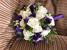 Scottish Wedding Posy Bouquet Thistles, Lavender, Calla ,White Roses &  Gyp