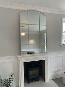 Large Tall White Metal Frame Arched Mirror Wall Mirror Freestanding Mirror
