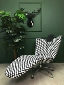 Design Funky Black & White chaise tongue day bed chair