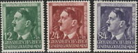 Stamp Germany Poland General Gov't Mi 117-9 Sc NB33-5 WWII Hitler Birth 1944 MH