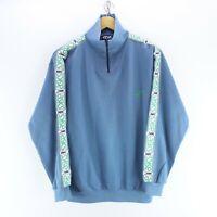 90's Vintage ASICS Men's 1/4 Zip Neck Sweater Blue Size M Arm Tape Logo EF5883