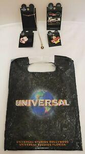 Walt Disney World 3x Pin Badges & 1x Necklace In Universal Studio Bag (D5)