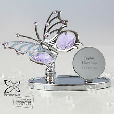 Personalised Engraved Message Butterfly Ornament With Swarovski Elements