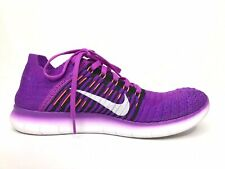 NIKE Free RN Flyknit Stretch Mesh Purple Orange Running Shoes Womens Size US 8.5