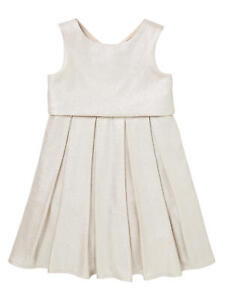 John Lewis Heirloom Collection Girls' Foil Pleated Dress / Gold Age 11 Years New