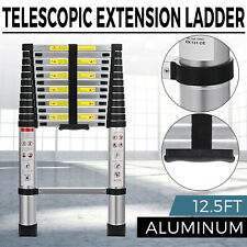 EN131 12.5FT Telescopic Extension Aluminum Step Ladder Folding Multi Purpose New
