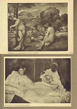NUDES, Musical Concert & Olympia - A Pair of 1927 Louvre Art