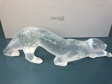 LALIQUE CRYSTAL FIGURINE ZEILA PANTHER LARGE FROSTED W/ ORIGINAL BOX SIGNED MINT