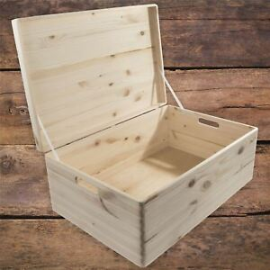 XXLarge Wooden Decorative Box With Lid Storage Chest Keepsake Craft Decoupage