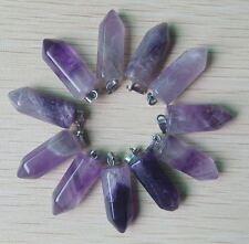 Anhänger esoterik hexe stein Amethyst dunkel lila pendel hexagon 002