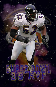 Baltimore Ravens Lithograph print of Ray Lewis Super Bowl 35 MVP 11 x 17