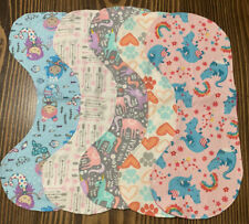 Set Of 5 Handmade Reversible Burp Pads - Girl Themed and Colors