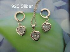 925 Silber Schmuck Set Weißes Herz Halskette Anhänger Ohrring Creolen Zirkonia