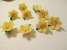 50  Yellow 15mm Fimo Clay  Flower Beads Spring Color Easter  Happy  NB2