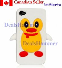 3D Cute Penguin Silicone Rubber Skin Case Cover for Apple iPhone 4 4S 4G Wht CAN