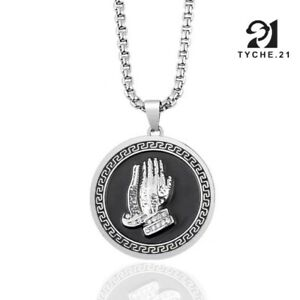 Unisex Silver Praying Hands Pendant Prayer Coin Charm Necklace Stainless Steel