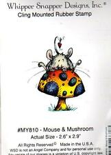 NEW WHIPPER SNAPPER cling Rubber Stamp VALENTINES LOVE MOUSE & MUSHROOM