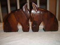 Vintage Horse Wood Bookends Solid Wood Horses Pair Horses