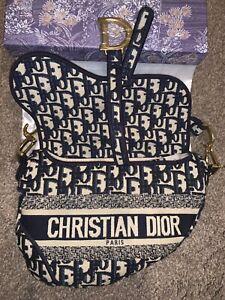 Christian dior blue oblique saddle bag *including strap