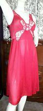 Vintage Olga Bodysilk Gown Nightgown 91097 Knee Length Red S (S-M)