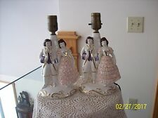 Porcelain China Vintage Courting Couple Set Of 2 Japanese Table Lamps