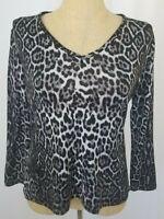 Chico's Womens Sweater Size 2 Large Animal Print Black Gray Long Sleeve V-Neck