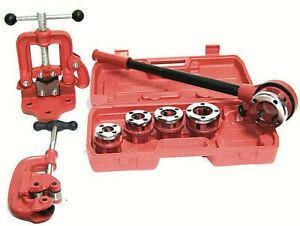 Ratchet Pipe Threader with 5 Dies and Pipe Cutter #2 + Clamp on Pipe Vice #1