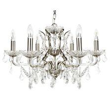 Lampadario a 6 LUCI gocce di cristallo chiaro e tagliare Lampada da soffitto Raso Finitura Argentata