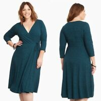 Torrid Ribbed Knit Surplice Faux Wrap Dress Teal Career Casual Womens Sz 2X