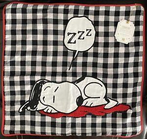 Pottery Barn Teen Peanuts Snoopy Sleeping ZZZ Sleepy Snoopy Pillow Cover NWT