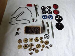 Meccano Vintage Mixed Parts Joblot.Chain,Brass Parts,Wheels,Connectors etc.