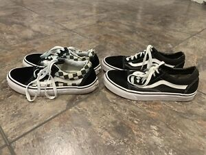 2 Pair Lot Of Clean Vans Old Skool Black White/Checkerboard Women's Size 7 & 7.5